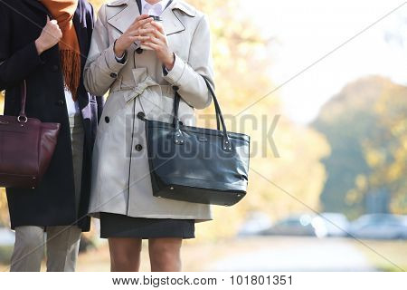 Midsection of businesswomen carrying purses at park