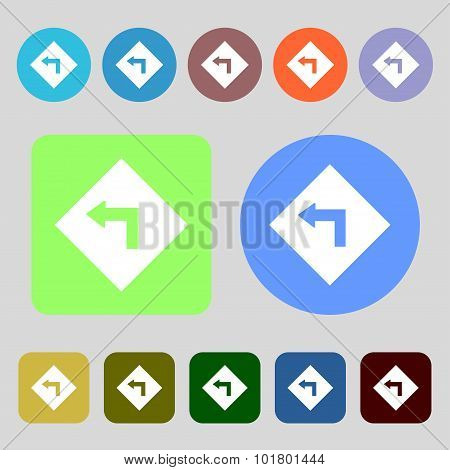Road Sign Warning Of Dangerous Left Curve Icon Sign. 12 Colored Buttons. Flat Design. Vector