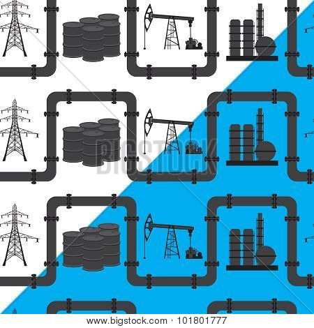 Oil, Gas And Electric Power Industry. Seamless Pattern Background.