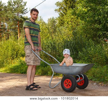 Father And Son Go For A Walk