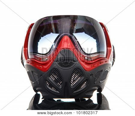 Cool Paintball Mask On Glass Surface