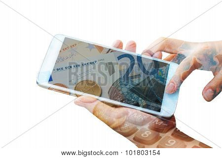 double exposure of woman hand hold and touch screen smart phone,tablet,cellphone on euro bank note ,