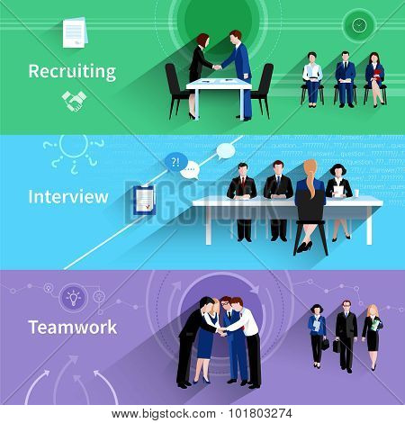 Human resources 3 flat banners set