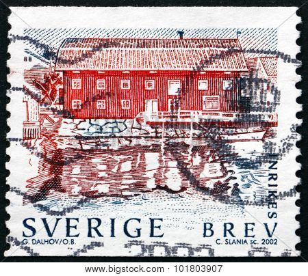 Postage Stamp Sweden 2002 Waterfront Building