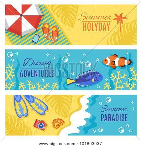 Summer holiday vacation horizontal banners set