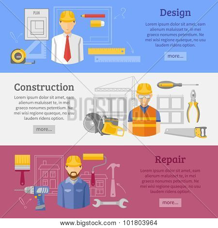 Construction works concept horizontal banners set
