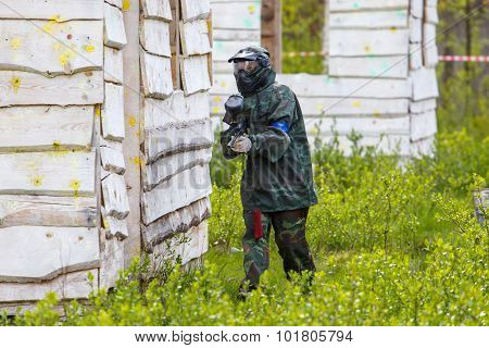Young Girl Playing Paintball