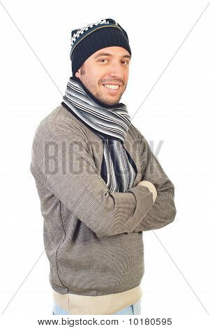 Cheerful Man In Winter Clothes