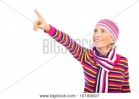 Senior Woman Pointing Away
