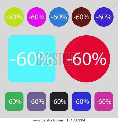 60 Percent Discount Sign Icon. Sale Symbol. Special Offer Label. 12 Colored Buttons. Flat Design. Ve