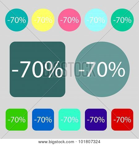 70 Percent Discount Sign Icon. Sale Symbol. Special Offer Label. 12 Colored Buttons. Flat Design. Ve