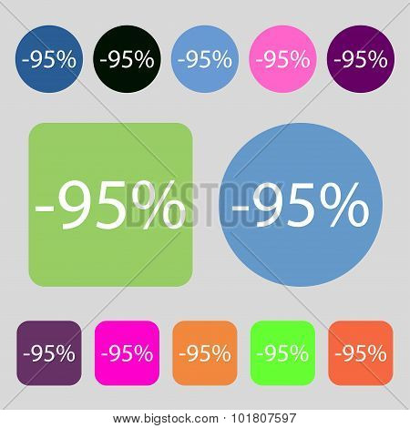 95 Percent Discount Sign Icon. Sale Symbol. Special Offer Label. 12 Colored Buttons. Flat Design. Ve