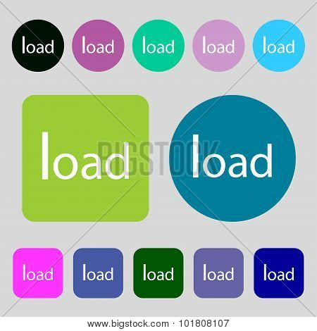 Download Now Icon. Load Symbol. 12 Colored Buttons. Flat Design. Vector