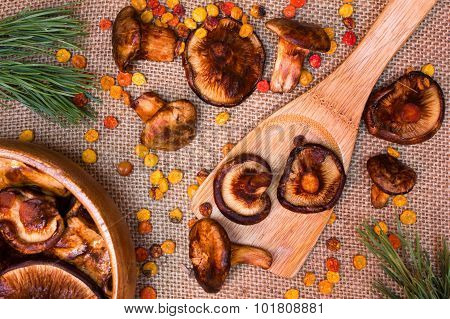 Wooden Spoon With Dried Mushroom Lies On Sackcloth, As Background