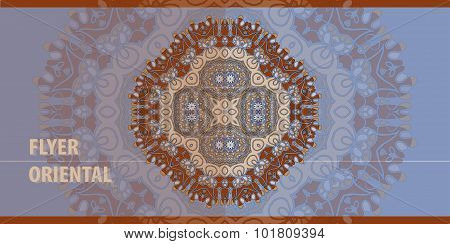 Oriental Flayer template design in blue and brown. Abstract Retro Ornate Mandala Background for gree