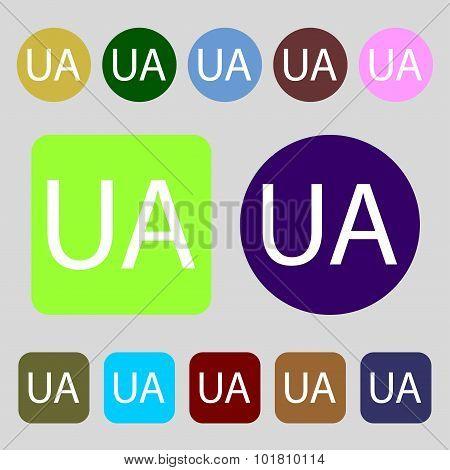 Ukraine Sign Icon. Symbol. Ua Navigation. 12 Colored Buttons. Flat Design. Vector