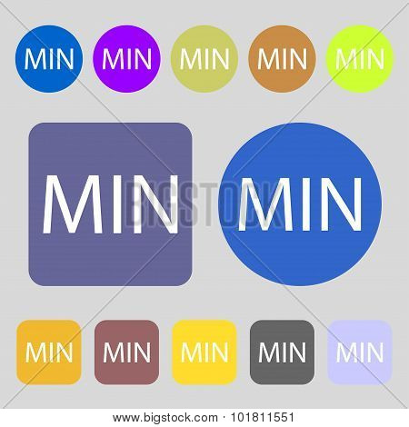 Minimum Sign Icon. 12 Colored Buttons. Flat Design. Vector