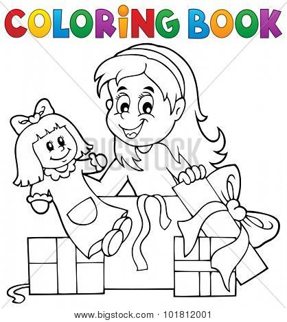 Coloring book girl with doll and gifts - eps10 vector illustration.