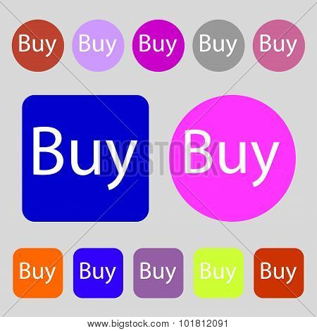 Buy Sign Icon. Online Buying Dollar Usd Button. 12 Colored Buttons. Flat Design. Vector