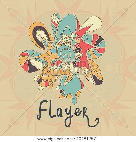 Square Flayer template design. Abstract Retro Ornate Mandala Background for greeting card, Brochure,