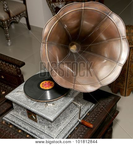 Beautiful Vintage Gramophone. Taken With Natural Light In Antique Shop, Jordan, Middle East