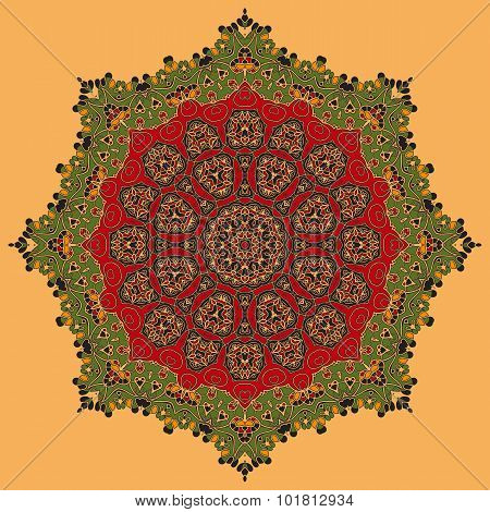 Green and Red Oriental Mandala.