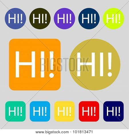 Hi Sign Icon. India Translation Symbol. 12 Colored Buttons. Flat Design. Vector