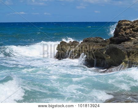 Big Waves On Rock Coast Blue Sea And Sky On Crete