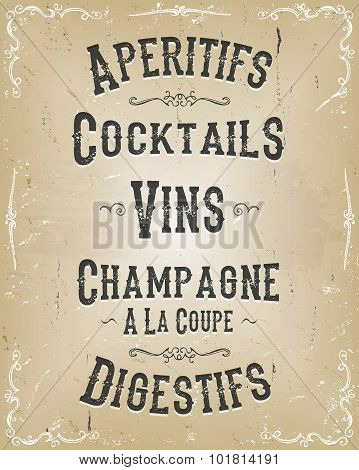 Alcohol And Beverage Poster Menu
