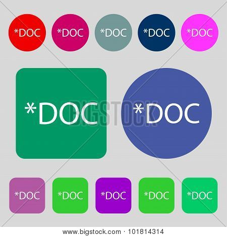 File Document Icon. Download Doc Button. Doc File Extension Symbol. 12 Colored Buttons. Flat Design.