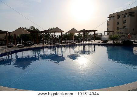 Swimming Pool On A Background Of A Sunset, The Resort At The Dead Sea, Jordan