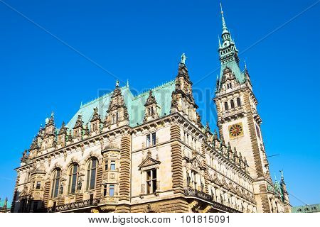 The beautiful townhall in Hamburg