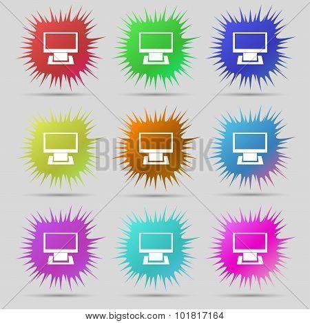 Computer Widescreen Monitor Sign Icon. Nine Original Needle Buttons. Vector