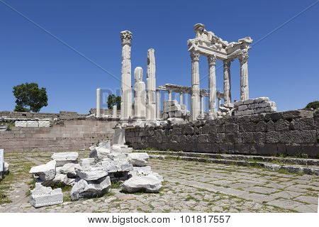 Pergamon Acropolis. Turkey. The ruins of the temple of Trajan.