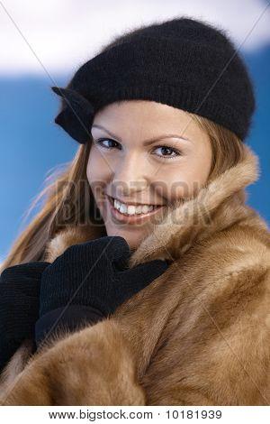Elegant Young Female Enjoying Winter Smiling