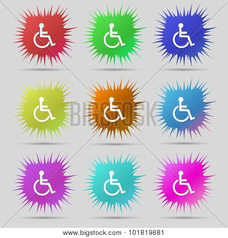 Disabled Sign Icon. Human On Wheelchair Symbol. Handicapped Invalid Sign. Nine Original Needle Butto