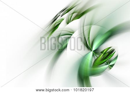 Abstract Fractal Spheres With Green Whirls Over White Background