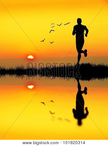 runing in the lake