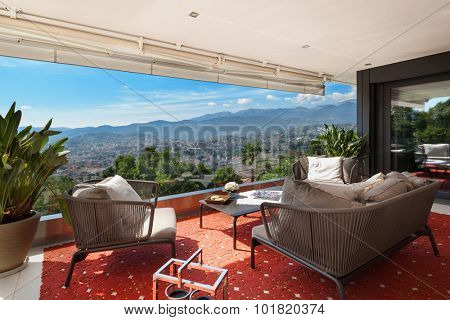 Interior of house, beautiful balcony furnished