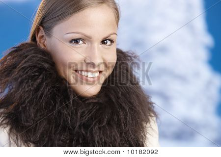 Portrait Of Elegant Young Woman Enjoying Winter