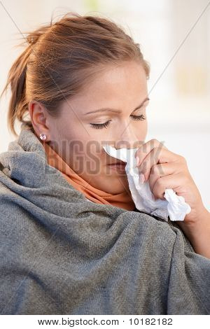 Young Woman Caught Cold Feeling Bad