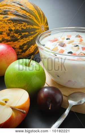 Fruits And Yogurt Mixed With Fruit Pieces