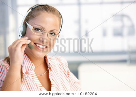 Pretty Dispatcher Working Smiling