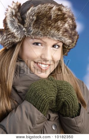Pretty Girl Dressed Up Warm Smiling After Skiing