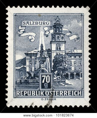 AUSTRIA - CIRCA 1962: A stamp printed in Austria shows Residence Fountain in Salzburg, series, circa 1962