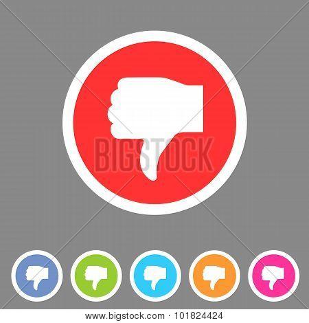 Thumbs down dislike icon flat web sign symbol logo label