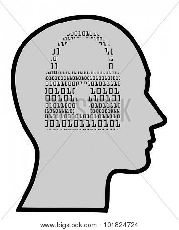 concept of a digital mind of IT specialist, vector