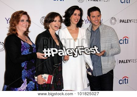 LOS ANGELES - SEP 14:  Donna Lynne Champlin, Rachel Bloom, Aline Brosh McKenna, S Fontana at the Fall TV Preview - Crazy Ex-Girlfriend at the Paley Center on September 14, 2015 in Beverly Hills, CA