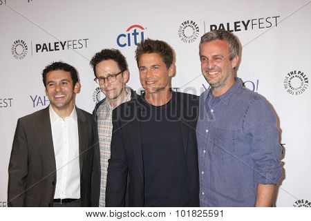 LOS ANGELES - SEP 15:  Fred Savage, Jarrad Paul, Rob Lowe, Andrew Mogel at the PaleyFest 2015 Fall TV Preview - FOX at the Paley Center For Media on September 15, 2015 in Beverly Hills, CA