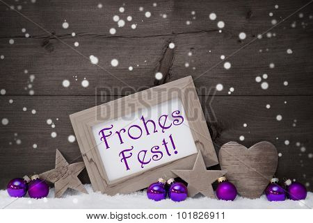 Gray Purple Frohes Fest Means Merry Christmas, Snowflakes
